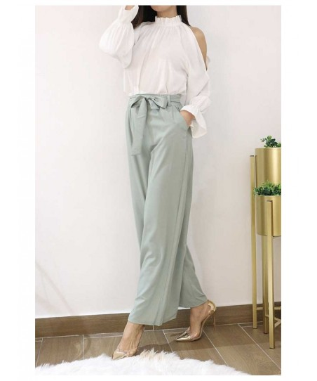 Pantalon coupe large avec ceinture Pantalon