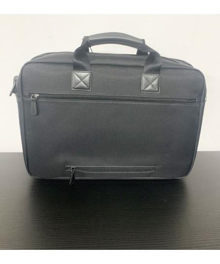 Porte ordinateur en toile garnie cuir Portefeuille